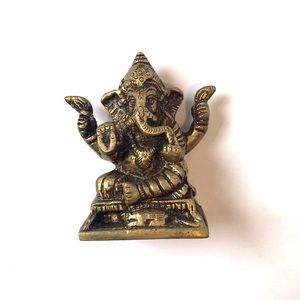 Vintage Gold Bronze Metal Casted Ganesh Sculpture